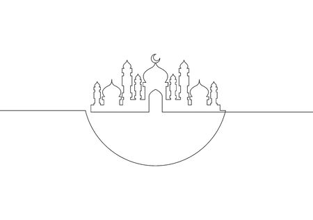 One single line drawing of masjid ornament with half round circle. Muslim holiday, Eid al Fitr and Ramadan Kareem greeting card concept continuous line draw design illustration