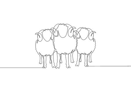 Single continuous line drawing of three sheeps lining up. Muslim holiday the sacrifice an animal to God, Eid al Adha greeting card concept one line draw design illustration