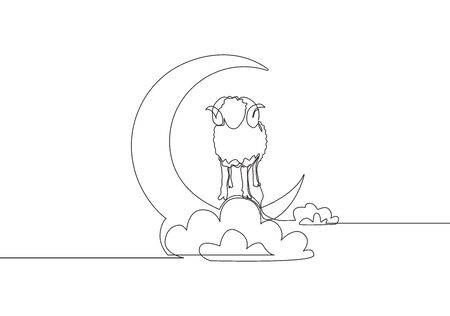 One continuous line drawing of sheep standing on moon at cloudy sky. Muslim holiday the sacrifice an animal to God, Eid ul Adha greeting card concept single line draw design illustration