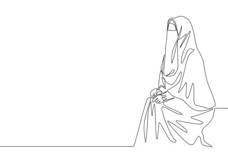 One single line drawing of young attractive middle east muslimah wearing burqa sitting on chair. Traditional beautiful Arabian woman niqab cloth concept continuous line draw design illustration