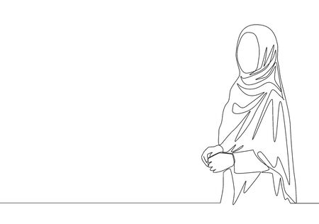 Single continuous line drawing of young happy muslimah girl with headscarf standing and pose nicely. Cute malay women model in trendy hijab fashion concept one line draw design illustration