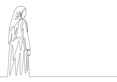 Single continuous line drawing of young happy beautiful muslim girl with headscarf from back view. Pretty malay women model in trendy hijab fashion concept one line draw design illustration
