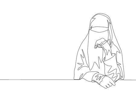 One single line drawing of young happy beauty saudi arabian muslimah wearing burqa and sitting on chair. Traditional Arabian woman niqab cloth concept continuous line draw design illustration