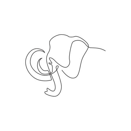 Single continuous line drawing of big mammoth corporate logo identity. Ancient animal from ice age icon concept. Modern one line graphic draw design vector illustration