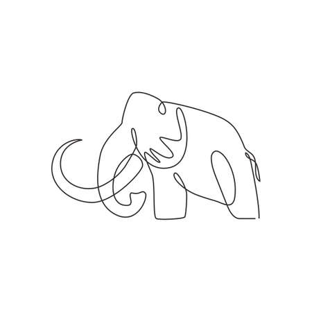 One continuous line drawing of big mammoth company logo identity. Prehistoric animal from ice age icon concept. Modern single line draw vector graphic design illustration