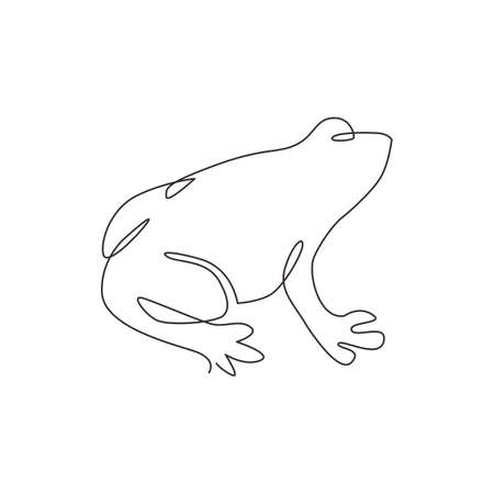 One single line drawing of cute frog for company logo identity. Amphibian animal icon concept. Modern continuous line vector draw graphic design illustration