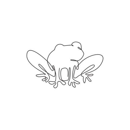 One continuous line drawing of funny frog for kids toy logo identity. Reptile animal icon concept. Modern single line graphic draw vector design illustration