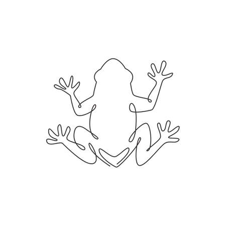 One continuous line drawing of funny frog for kids toy logo identity. Reptile animal icon concept. Trendy single line draw graphic design vector illustration