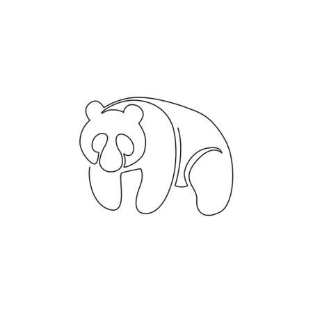 Single continuous line drawing of funny panda for corporation logo identity. Company icon concept from cute mammal animal shape. Modern one line vector draw graphic design illustration