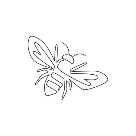 Single continuous line drawing of decorative bee for farm logo identity. Honeycomb producer icon concept from wasp animal shape. One line draw graphic design vector illustration