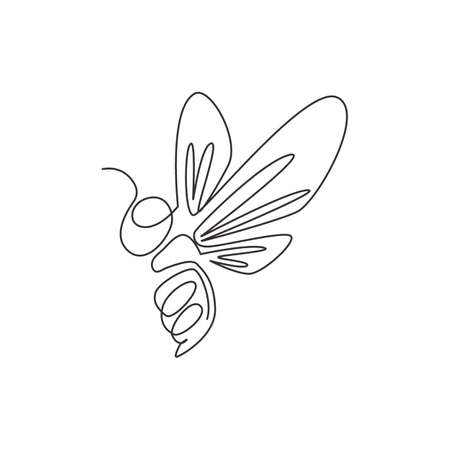 Single continuous line drawing of decorative bee for farm logo identity. Honeycomb producer icon concept from animal shape. One line vector draw design graphic illustration Illustration