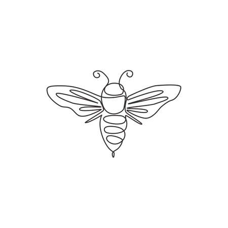 Single continuous line drawing of decorative bee for farm logo identity. Honeycomb producer icon concept from wasp animal shape. One line draw vector design graphic illustration