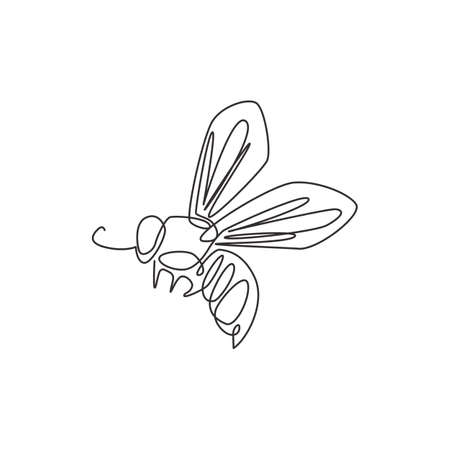One single line drawing of cute bee for company logo identity. Honeybee farm icon concept from wasp animal shape. Trendy continuous line draw design vector graphic illustration