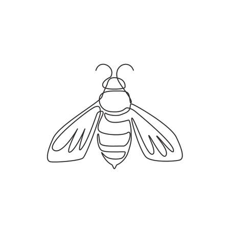 One single line drawing of cute bee for company logo identity. Honeybee farm icon concept from wasp animal shape. Dynamic continuous line graphic draw design vector illustration Illustration