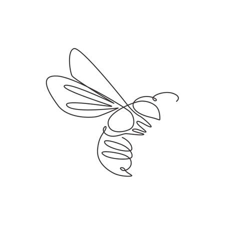 One single line drawing of cute bee for company logo identity. Honeybee farm icon concept from wasp animal shape. Modern continuous line draw graphic design vector illustration Illustration