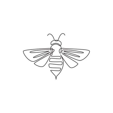 One continuous line drawing of elegant bee for company logo identity. Organic honey farm icon concept from wasp insect animal shape. Trendy single line vector draw design graphic illustration