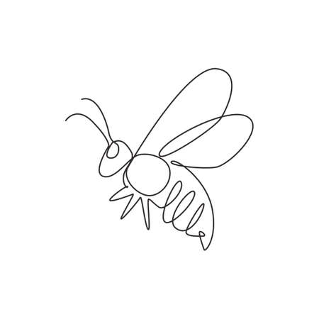 One continuous line drawing of elegant bee for company logo identity. Organic honey farm icon concept from wasp insect animal shape. Single line vector draw graphic design illustration