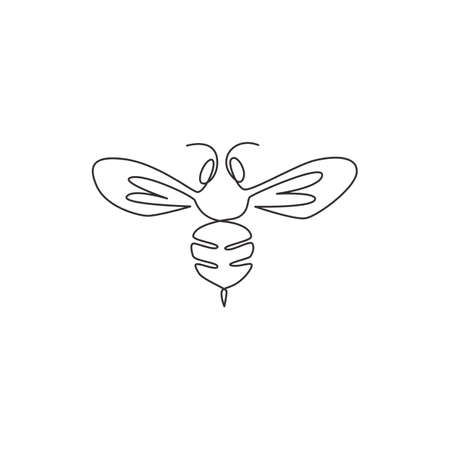One continuous line drawing of elegant bee for company logo identity. Organic honey farm icon concept from wasp insect animal shape. Single line draw graphic design vector illustration Illustration