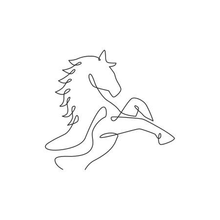 One single line drawing of jumping elegance horse for company logo identity. Strong gallop head mammal animal symbol concept. Modern continuous line draw vector graphic design illustration