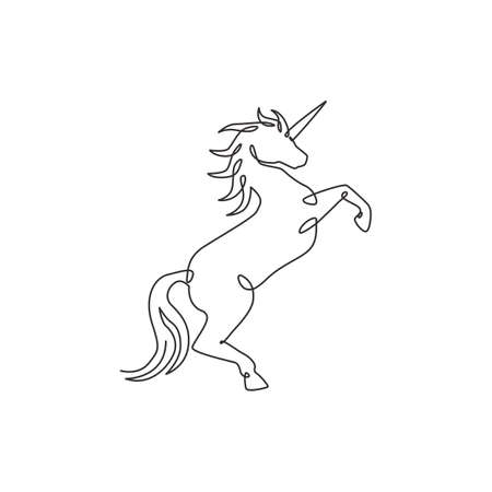 One single line drawing of cute jumping unicorn with horn for creative studio logo identity. Beautiful fairy animal creature mythology concept. Modern continuous line draw design vector illustration