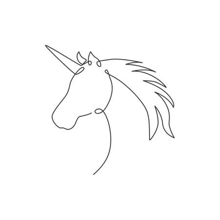 One continuous line drawing of beautiful cute unicorn head for company logo identity. Kids fantasy dream creature concept animal creature. Dynamic single line vector draw design graphic illustration