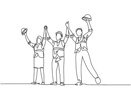 One line drawing of young architect woman and builder wearing construction vest fist their hands up the air to celebrate a project deal. Great teamwork concept. Continuous line drawing illustration