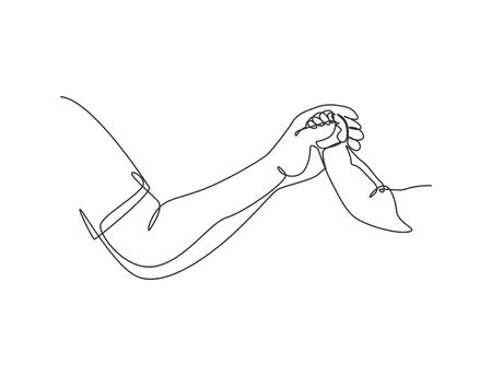 One line drawing of father giving hand to his child. Mother care in continuous line drawing design style. Parental concept vector illustration Vettoriali