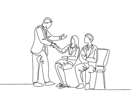 One line drawing of company manager meet and handshaking employee candidates while sitting on chair to take job interview. Modern continuous line draw design vector graphic illustration