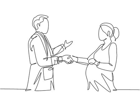 Continuous line drawing of obstetrician and gynecologist doctor handshake and congratulate a young happy pregnant mom about her pregnancy. One line drawing vector illustration 免版税图像 - 150282791