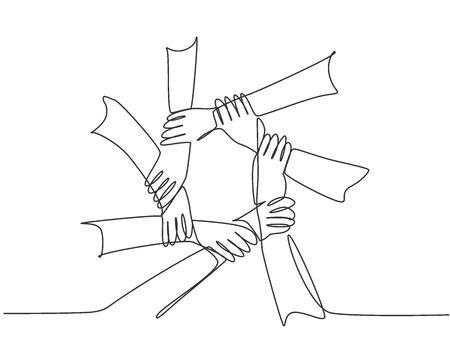 One line drawing of hand gesture making circle ring network. Continuous line drawing of teamwork design style. Business concept vector illustration Vettoriali