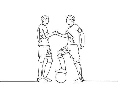Continuous line drawing of two football player and handshaking to show sportsmanship before starting the match. Respect in soccer sport concept. One line drawing vector illustration