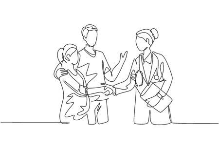 One line drawing of obstetrician and gynecologist doctor handshake and congratulate a happy young couple about the pregnancy. Medical check up concept. One line drawing vector illustration 免版税图像 - 150283247