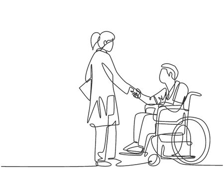 One line drawing of young female doctor visiting and handshaking the patient with wheelchair in hospital. Continuous line drawing design, vector illustration