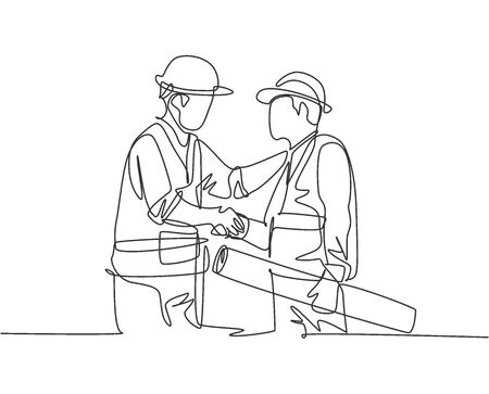 One line drawing of young architect holding on a roll paper and builder foreman wearing construction vest and helmet handshake to deal a project. Great teamwork concept. Continuous line drawing
