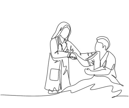 Continuous line drawing of young happy female doctor visit a patient who laying on bed in hospital and handshaking him to ask the condition.  Healthcare concept. One line drawing vector illustration 免版税图像 - 150281976