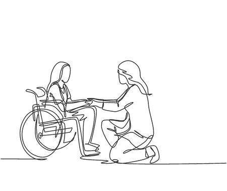 One line drawing of young doctor visiting and handshaking the old patient with wheelchair in hospital. Health care service concept. continuous line drawing vector illustration 免版税图像 - 150281998