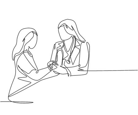 Continuous line drawing of female obstetrician and gynecologist doctor handshake and congratulate a young happy pregnant mom about her pregnancy. One line drawing vector illustration