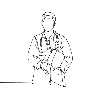 Continuous line drawing of doctor welcoming the patient with handshake gesture. Greeting in hospital and healthcare center concept. One line drawing vector illustration 免版税图像 - 150283498