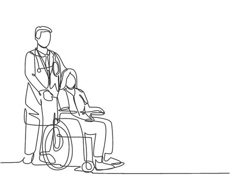 One line drawing of young doctor visiting and handshaking the old patient with wheelchair in hospital. Healthcare concept. Continuous line drawing vector illustration