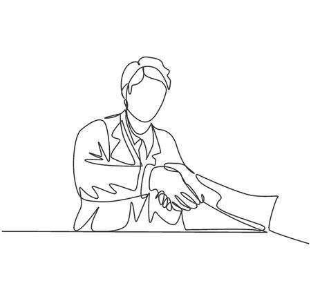 Continuous line drawing of young doctor handshake the patient in hospital after running test on lab. Healthcare medical check up concept. One line drawing vector illustration 免版税图像 - 150282346
