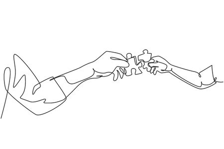 One line drawing of two hands holding puzzle pieces and want to merge together. Father or mother and son teamwork to build super family. Continuous line draw design, vector illustration graphic