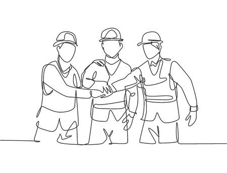 One line drawing of young builder and architect wearing construction vest and helmet handshake joining their hands together. Great teamwork concept. Continuous line drawing vector graphic illustration Illusztráció
