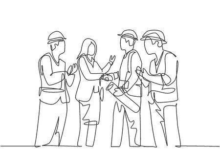 One line drawing of young business woman and architect builder wearing construction vest helmet handshake to deal project. Great teamwork concept. Continuous line drawing, vector graphic illustration Illusztráció