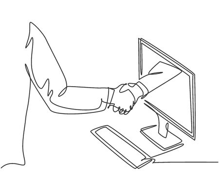 Continuous line drawing of business men shaking hand to deal a project. Hand come out from computer monitor screen. Digital online transaction concept. One line drawing vector graphic illustration Illusztráció