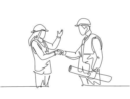 One line drawing of young architect woman and builder foreman wearing construction vest and helmet handshake to deal a project. Great teamwork concept. Continuous line drawing vector illustration Illusztráció
