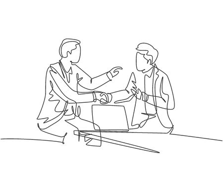 Continuous line drawing of business men handshake his colleague to deal a project. Business meeting at office concept. Single line drawing design, vector graphic illustration