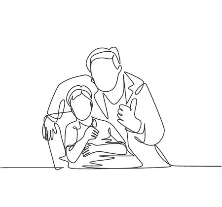 One line drawing of young dentist man calming down his little boy patient and giving thumbs up gesture. Teeth health care concept. Continuous line draw design vector graphic illustration