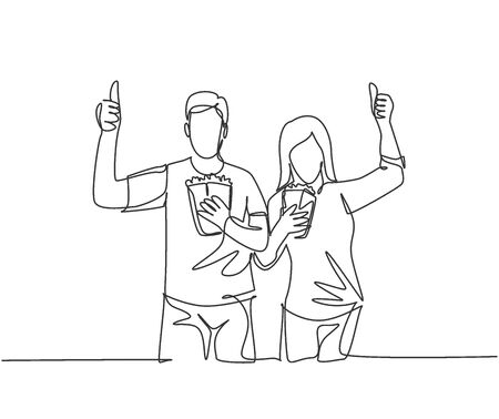 One line drawing of young happy couple giving thumbs up gesture and holding pop corn ready to watch the movie on theater. Entertainment concept. Continuous line graphic draw design vector illustration
