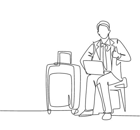 One line drawing of young happy businessman giving thumbs up gesture while opening the laptop waiting in the airport. Business travel journey concept. Continuous line draw design vector graphic