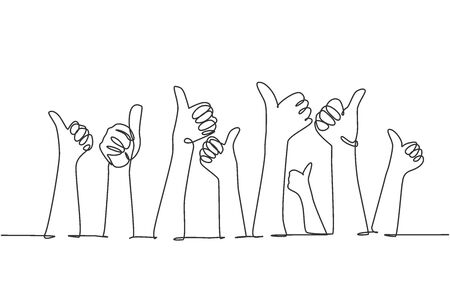 One line drawing of people arm hands raising with thumbs up gesture. Good service excellence in business sector sign concept. Continuous line draw graphic design vector illustration